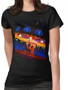 Carousel , Oil Painting bright night carnival creepy scene , Illustration Art Print  Womens Fitted T-Shirt