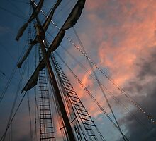 Ships mast at sunset by Jessica Doran