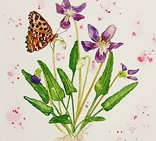 Laced Fritillary & Arrowhead Violet by WildEthereal