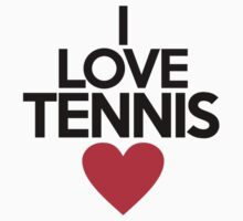 I love tennis - on white by onebaretree
