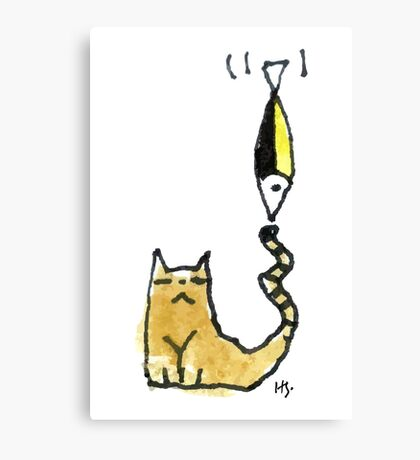 Cat Juggeling with Fish Canvas Print