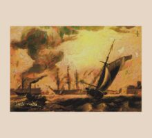 Portsmouth Harbour circa early 19th century and a Melee of Coal and Wind Driven Ships T-Shirt
