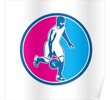 Basketball Player Dribbling Ball Circle Retro Poster