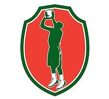 Basketball Player Jump Shot Ball Shield Retro by patrimonio