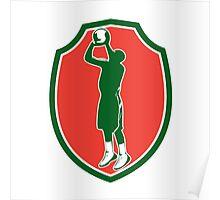 Basketball Player Jump Shot Ball Shield Retro Poster