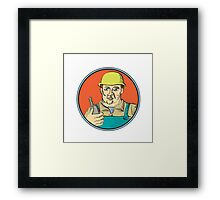 Builder Carpenter Holding Radio Phone Circle Retro Framed Print
