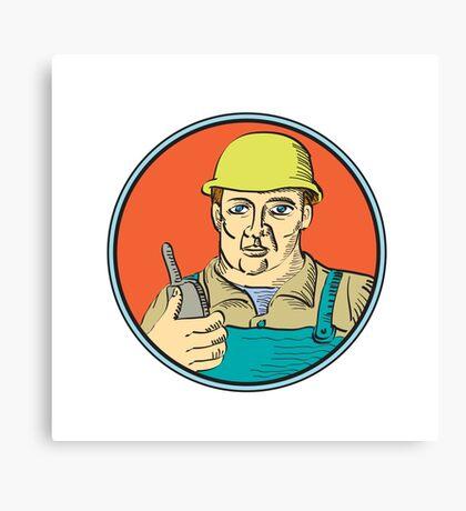 Builder Carpenter Holding Radio Phone Circle Retro Canvas Print