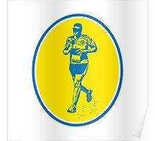 Marathon Runner Running Oval Retro Poster