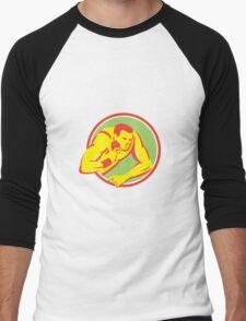 Shot Put Track and Field Athlete Retro Men's Baseball ¾ T-Shirt
