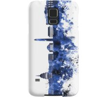 Washington DC skyline in blue watercolor on white background  Samsung Galaxy Case/Skin