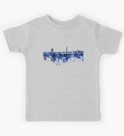 Washington DC skyline in blue watercolor on white background  Kids Tee