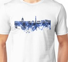 Washington DC skyline in blue watercolor on white background  Unisex T-Shirt