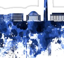 Washington DC skyline in blue watercolor on white background  Sticker