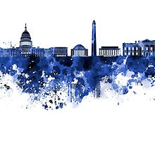 Washington DC skyline in blue watercolor on white background  by paulrommer