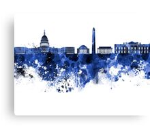 Washington DC skyline in blue watercolor on white background  Canvas Print