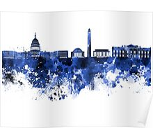 Washington DC skyline in blue watercolor on white background  Poster
