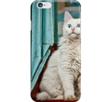 Blue-eyed white cat in an old wooden porch. iPhone Case/Skin
