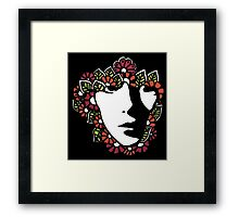 Woman in Flowers Framed Print