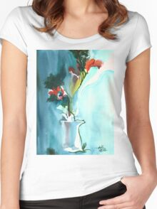 Flowers in Vase Women's Fitted Scoop T-Shirt