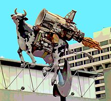 Cow with Rocket Strapped to Its' Back 2 by SteveOhlsen