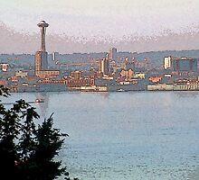 Painterly Seattle Skyline 1 by SteveOhlsen