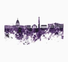 Washington DC skyline in purple watercolor on white background  Kids Tee