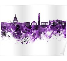 Washington DC skyline in purple watercolor on white background  Poster