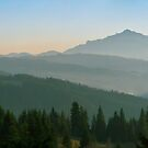 Wide panorama with mountains at sunset in late November by wildrain