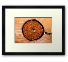 Black Pan of Chili with Jalapeno on Wood Framed Print