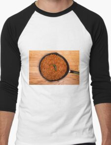 Black Pan of Chili with Jalapeno on Wood Men's Baseball ¾ T-Shirt