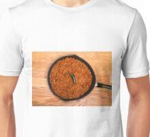 Black Pan of Chili with Jalapeno on Wood Unisex T-Shirt