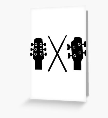 Guitar, Bass and Drums Greeting Card