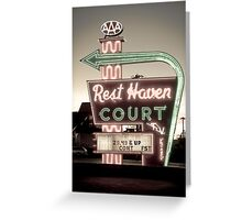 Route 66. Rest Haven Court Motel. Springfield. (Alan Copson ©) Greeting Card