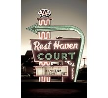 Route 66. Rest Haven Court Motel. Springfield. (Alan Copson ©) Photographic Print