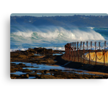 Waves over the Canoe Pool - Newcastle Beach NSW Canvas Print
