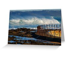 Waves over the Canoe Pool - Newcastle Beach NSW Greeting Card