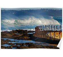 Waves over the Canoe Pool - Newcastle Beach NSW Poster