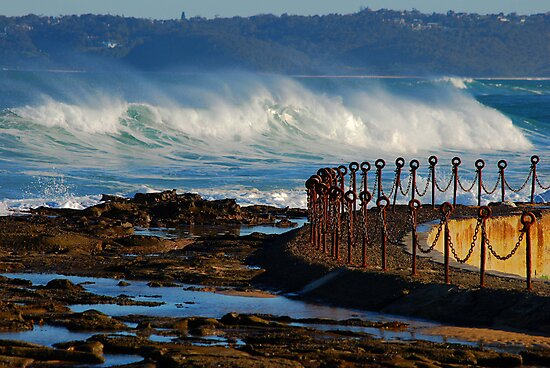 Waves over the Canoe Pool - Newcastle Beach NSW by Bev Woodman