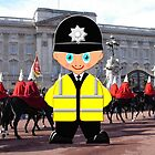 "A London Bobby (No 18 in the ""Toon Boy"" series) at Buckingham Palace by Dennis Melling"