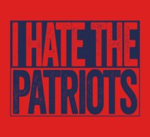 I Hate The Patriots - New York Giants T-Shirt - Show Your Team Spirit - Blue Box Design - Haters Gonna Hate T-Shirt