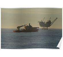 Lomond Platform and Passing Vessel, Central North Sea. Poster
