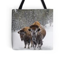 Bison in the Snow, Yellowstone National Park Tote Bag