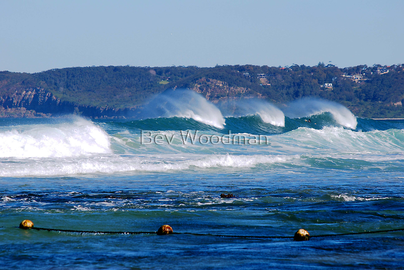 Waves Rolling in Unison - Bar Beach Newcastle NSW by Bev Woodman