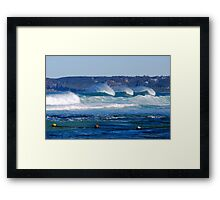Waves Rolling in Unison - Bar Beach Newcastle NSW Framed Print