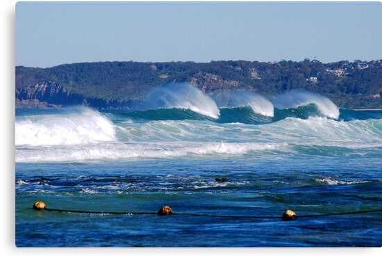 Waves Rolling in Unison - Bar Beach Newcastle NSW by Bev Woodman