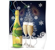 Card with champagne 3 Poster