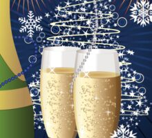 Card with champagne 3 Sticker