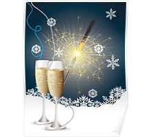 Card with champagne 4 Poster