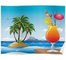 Cocktail on the beach Poster