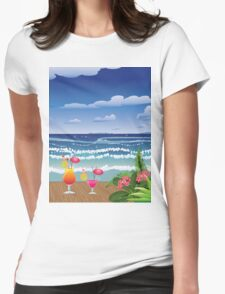 Cocktail on the beach 4 Womens Fitted T-Shirt